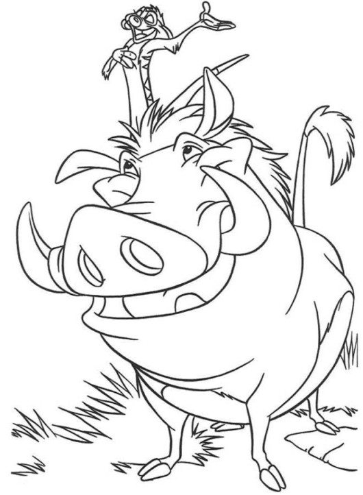 530x722 Simba Timon And Pumbaa Crossing A Bridge The Lion King Coloring