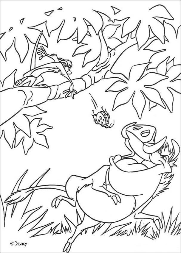 607x850 Pumbaa Eating Beetles Coloring Pages