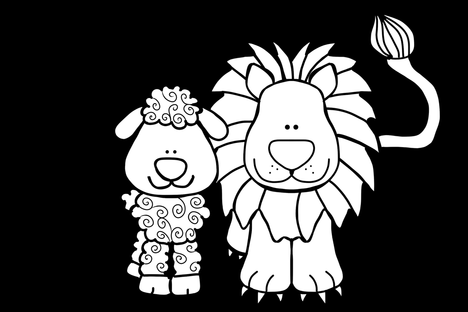 1600x1066 Lion And Lamb Coloring Page Pages