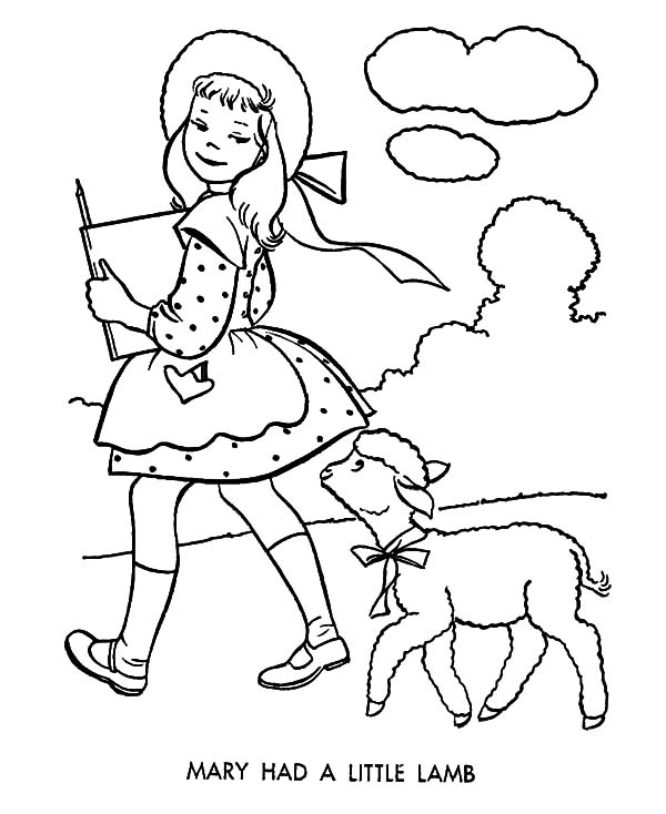 600x734 Little Lamb Coloring Page