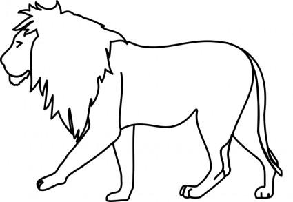 425x293 Lion Line Art Clipart