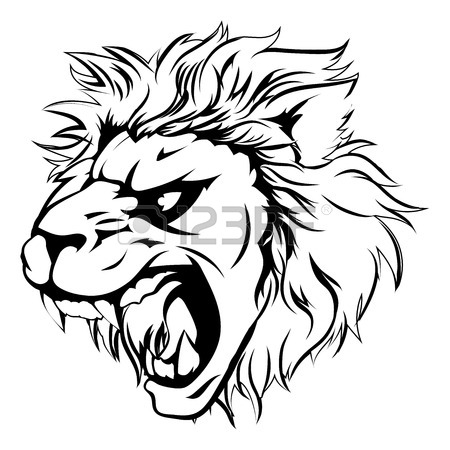 450x450 A Lion Man Character Sports Mascot Charging, Sprinting