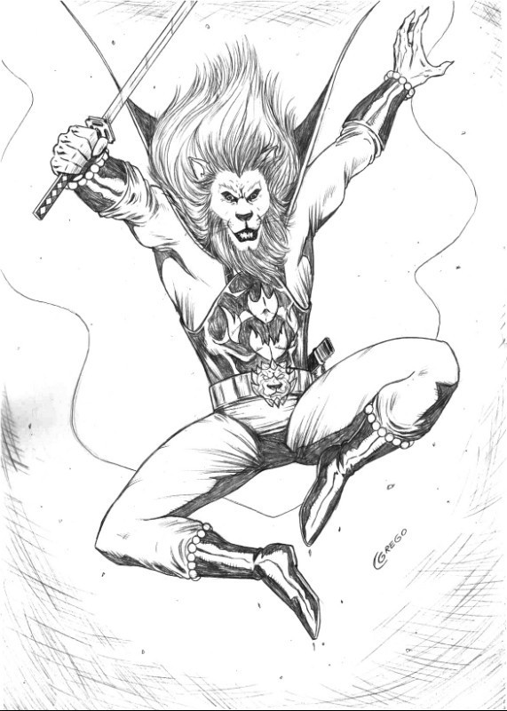 571x800 Artist Cesar Grego Lion Man Drawing Pinup Original Art No Ebid