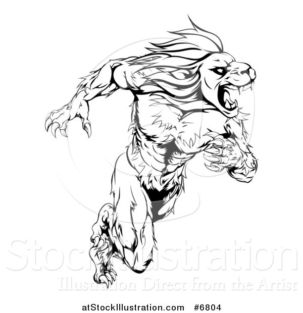 600x620 Vector Illustration Of A Black And White Aggressive Muscular