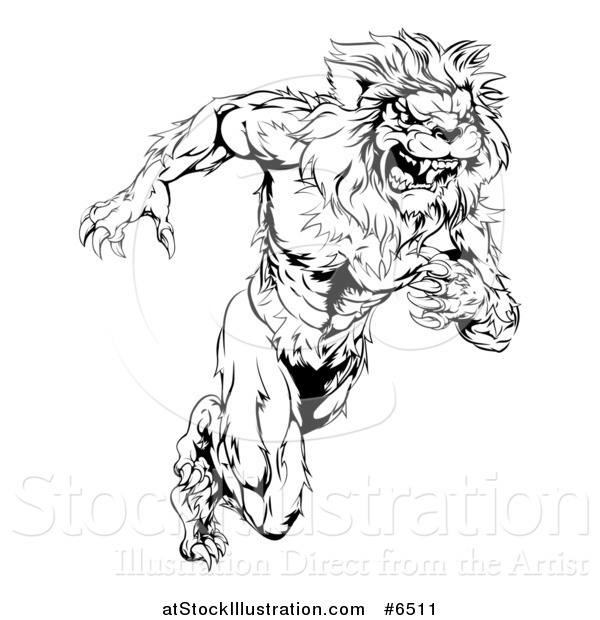 600x620 Vector Illustration Of A Black And White Vicious Muscular