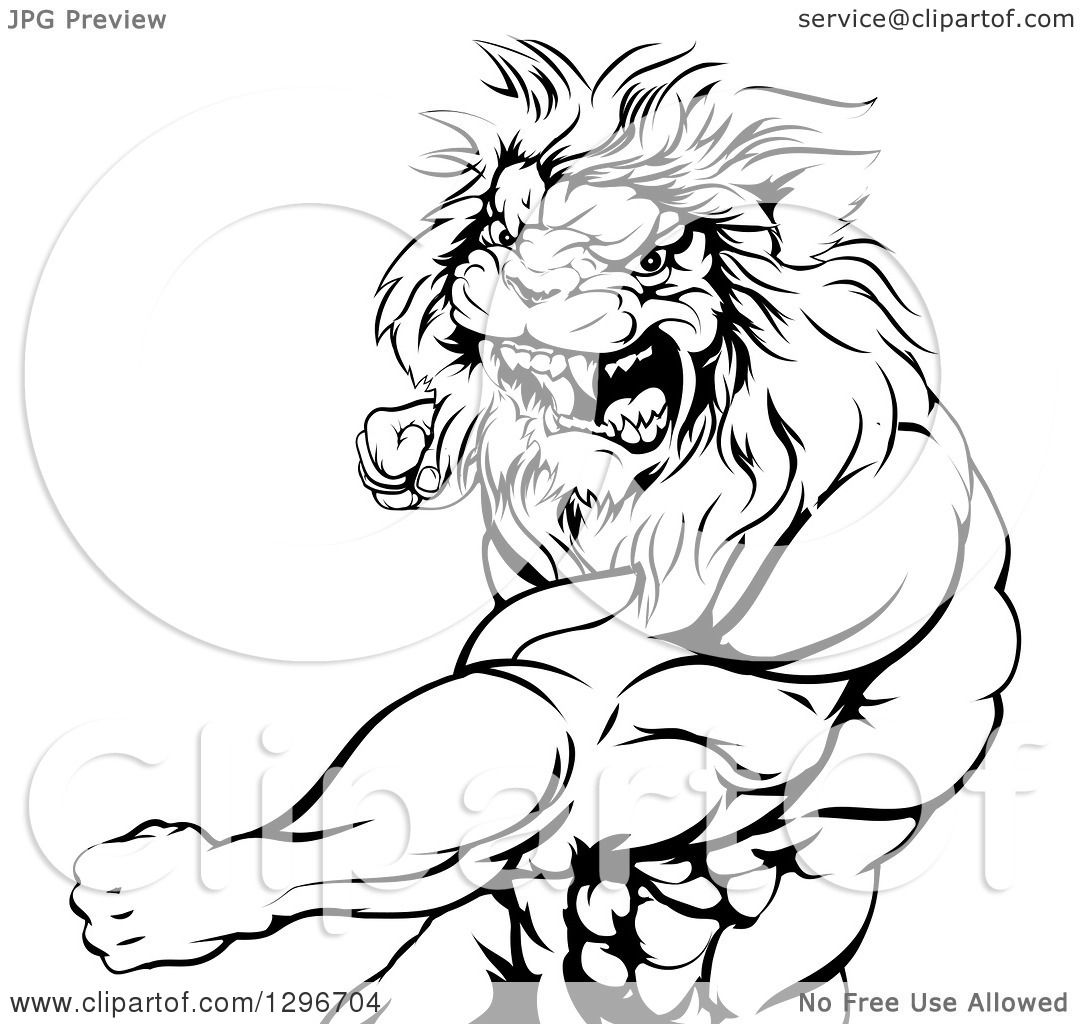 1080x1024 Clipart Of A Black And White Tough Angry Muscular Lion Man