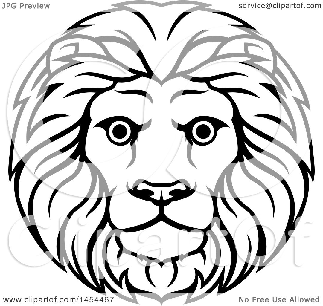 1080x1024 Clipart Graphic Of A Black White Lineart Leo Lion Face