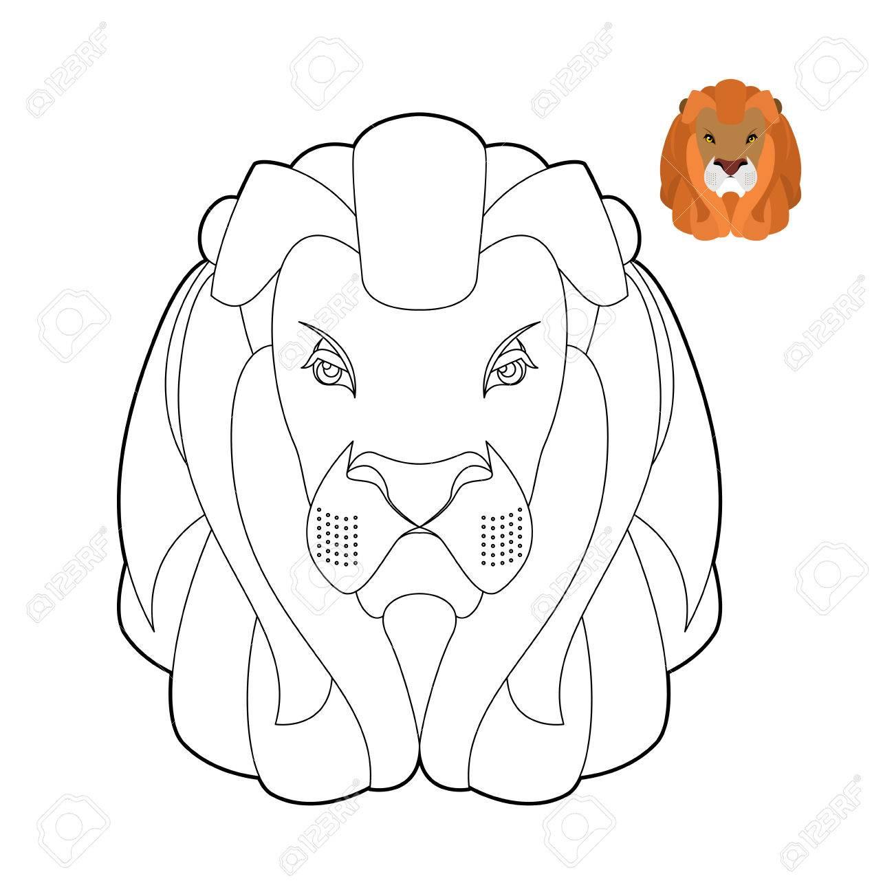 1300x1300 Lion Coloring Book. Head Of Predator With Shaggy Mane. Wild Cruel