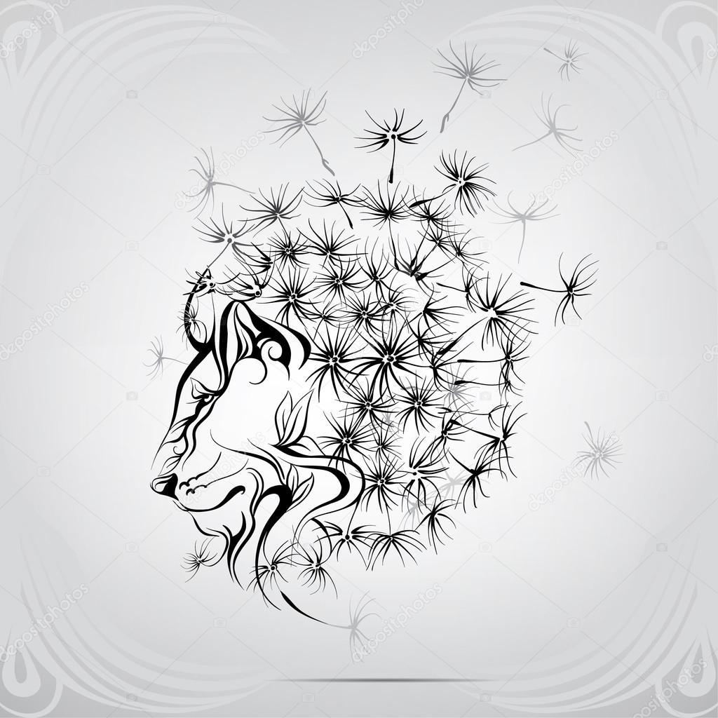 1024x1024 Lion With Mane Of Dandelion Stock Vector Nutriaaa