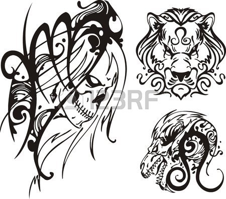 450x396 Skull And A Lion With A Long Mane. Fantasy Zodiac. Royalty Free