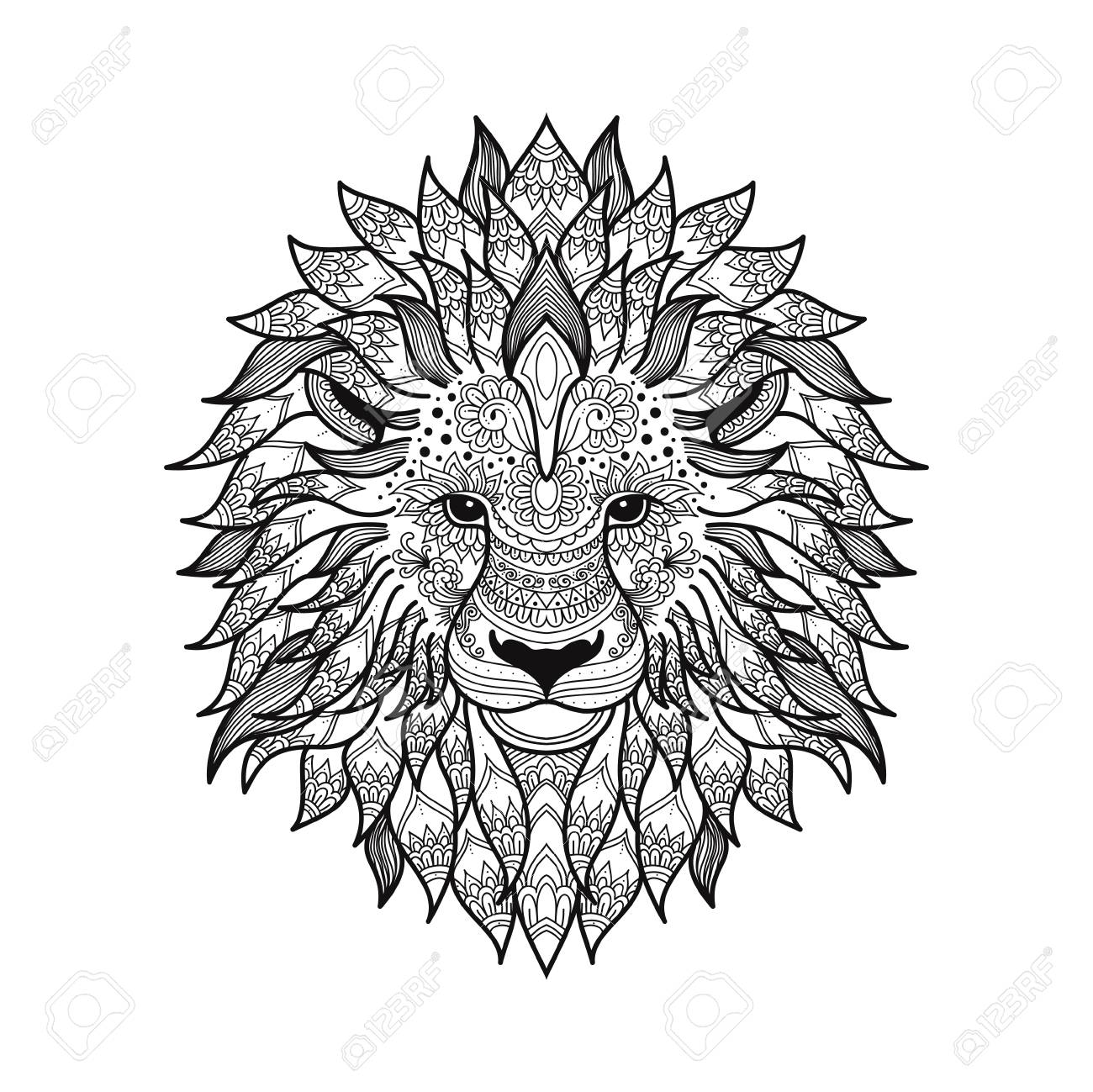 1300x1299 Stylized Lion Head In Zen Tangle Graphic Style With Patterned