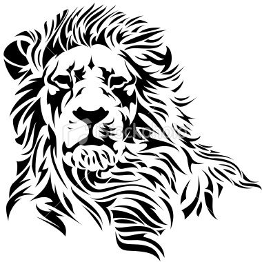 380x380 A Lion Head In Black And White. Vector Art, Art Illustrations