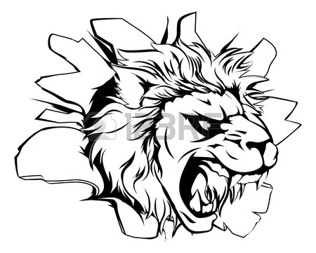 450x361 An Attacking Lion With Claws Breakthrough Drawing Of A Lion