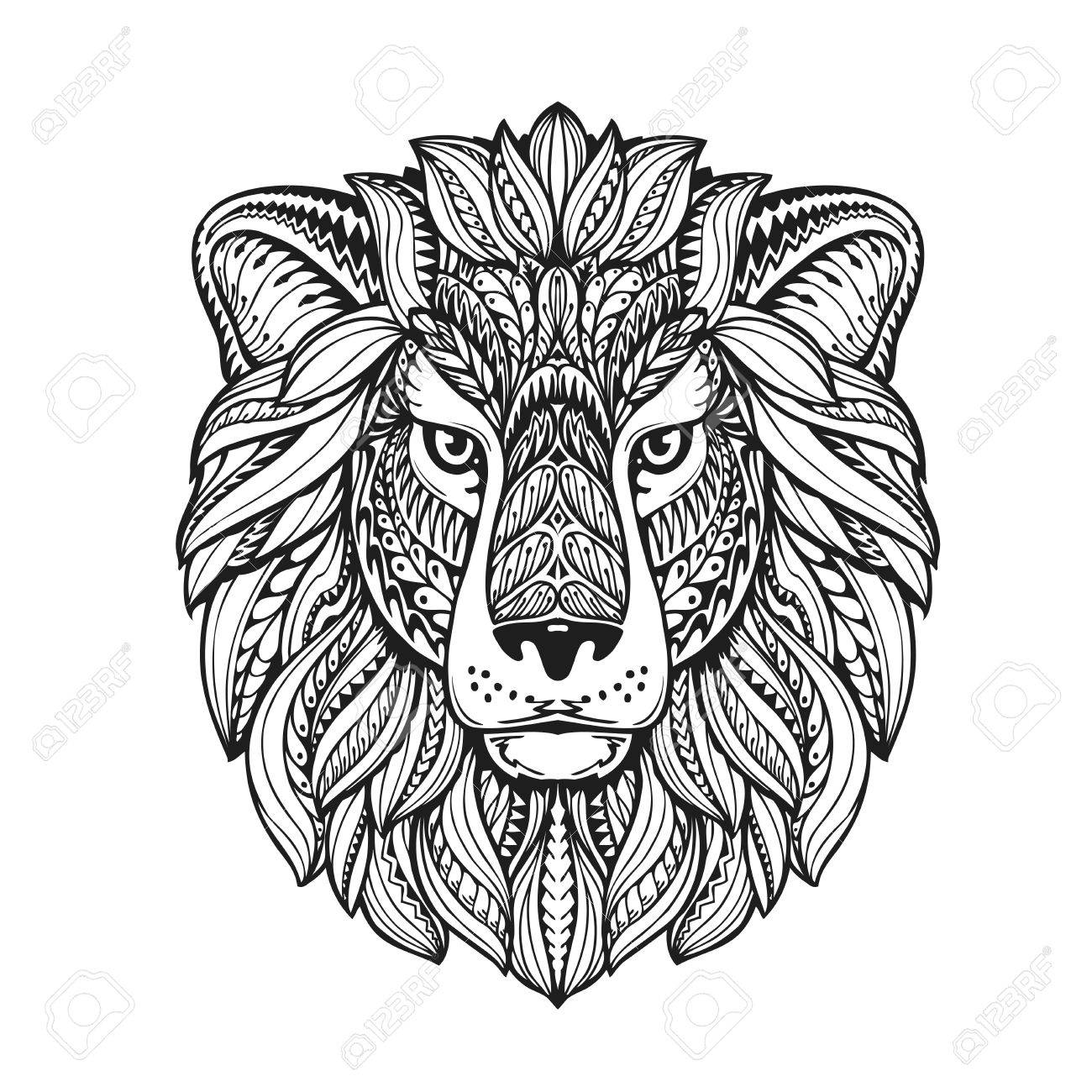 1300x1300 Beautiful Lion Ethnic Graphic Style With Herbal Ornaments