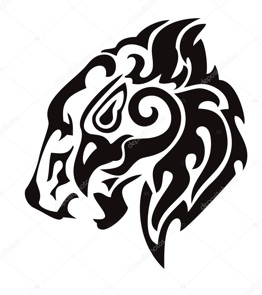 909x1023 Tribal Lion Head Formed By The Head Of An Eagle Stock Vector
