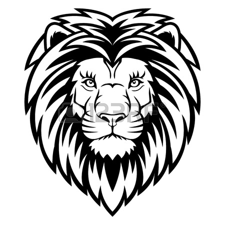 450x450 A Lion Head Logo In Black And White. This Is Vector Illustration