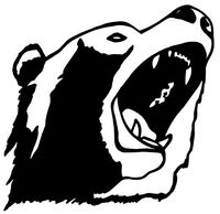200x194 Open Mouth Bear Decal Wd 190 Vinyl Wildlife Window Stickers