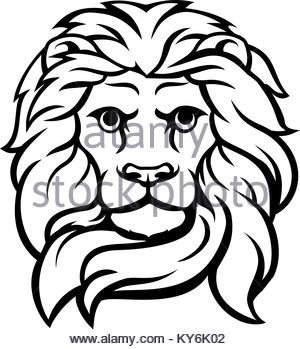 300x349 Sketch Of Lion Head With Mane. Lion Tattoo King. Vector
