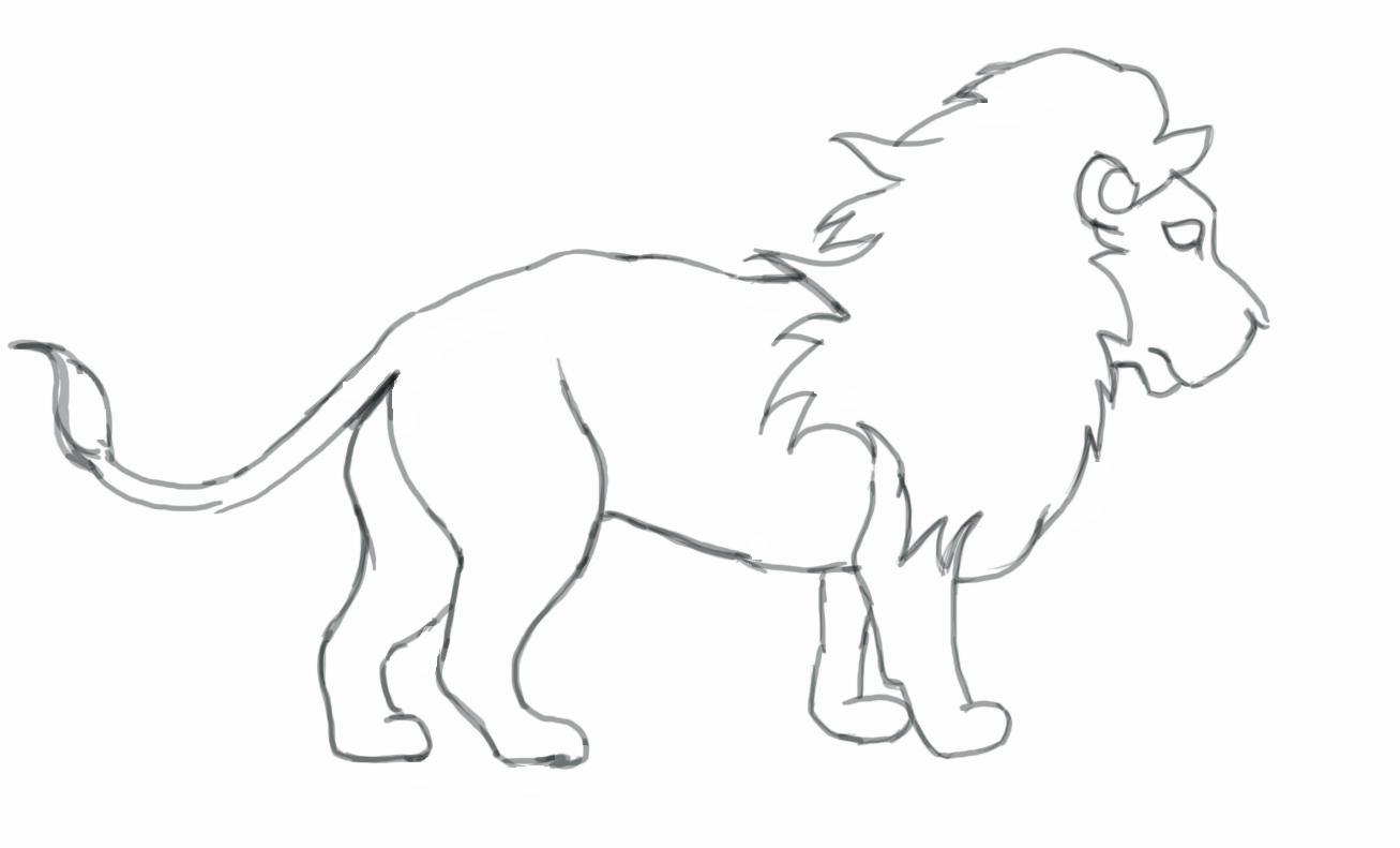 1307x791 Lion Drawing