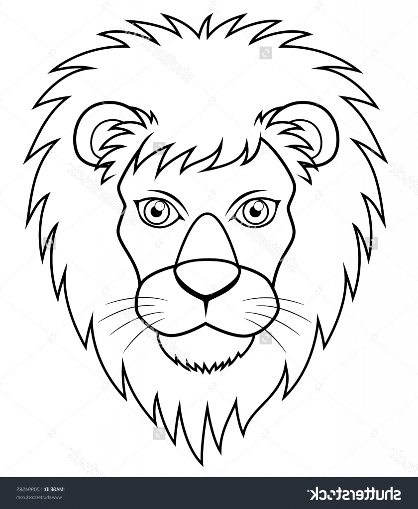 840x1024 Lion Face Outline Drawing