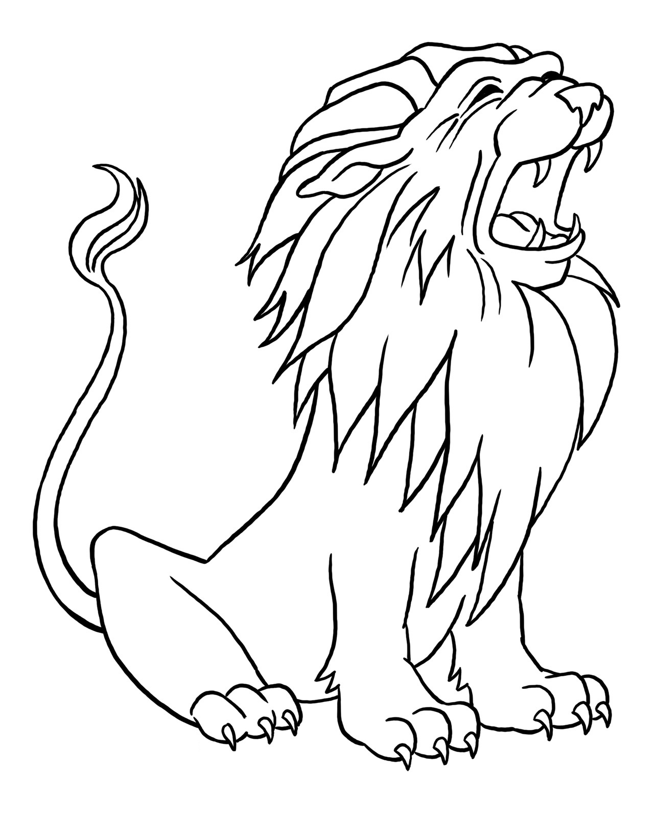 1278x1600 Lion Outline Coloring Page Free Download