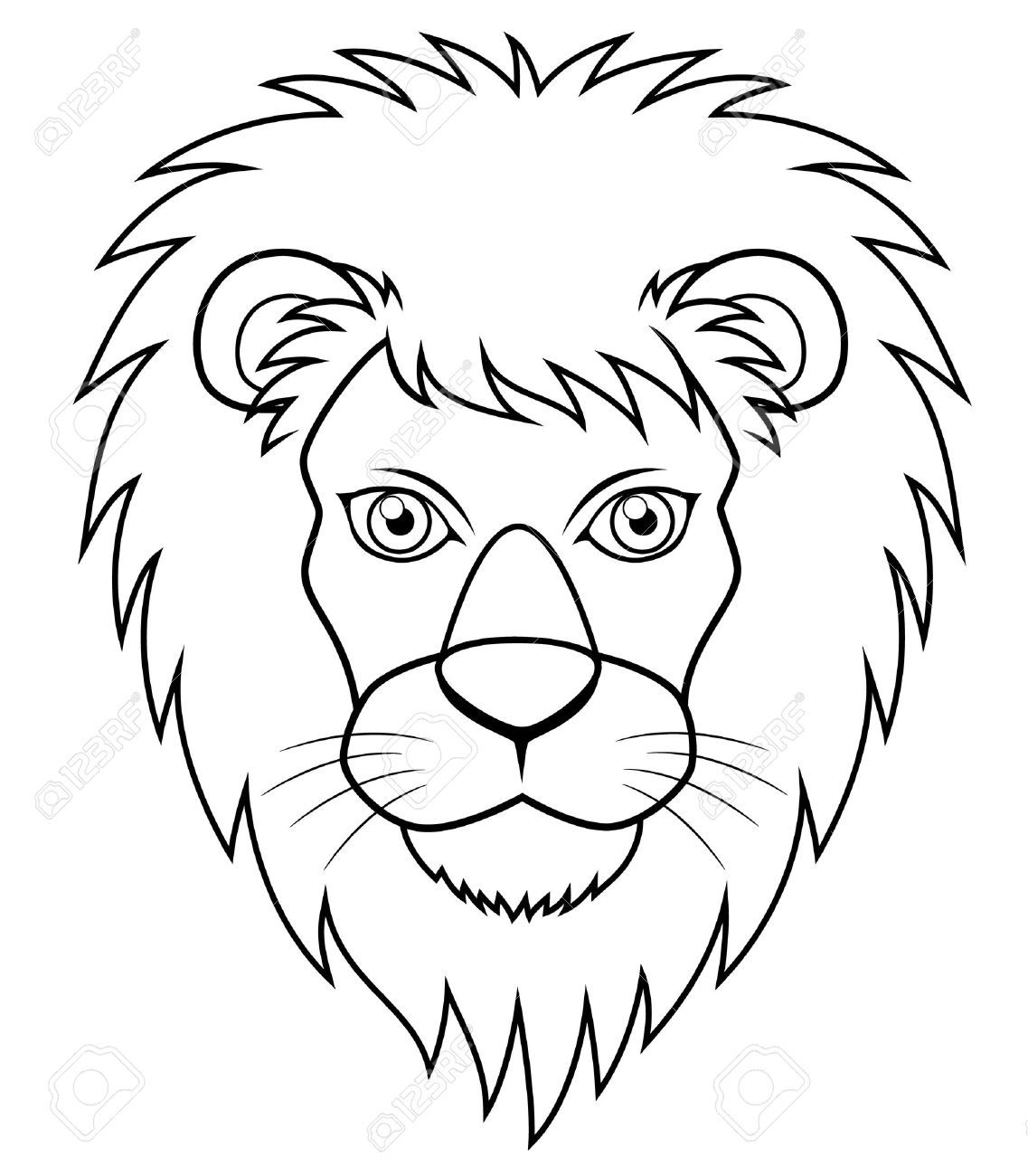 1137x1300 Illustration Of Lion Face Outline Royalty Free Cliparts, Vectors