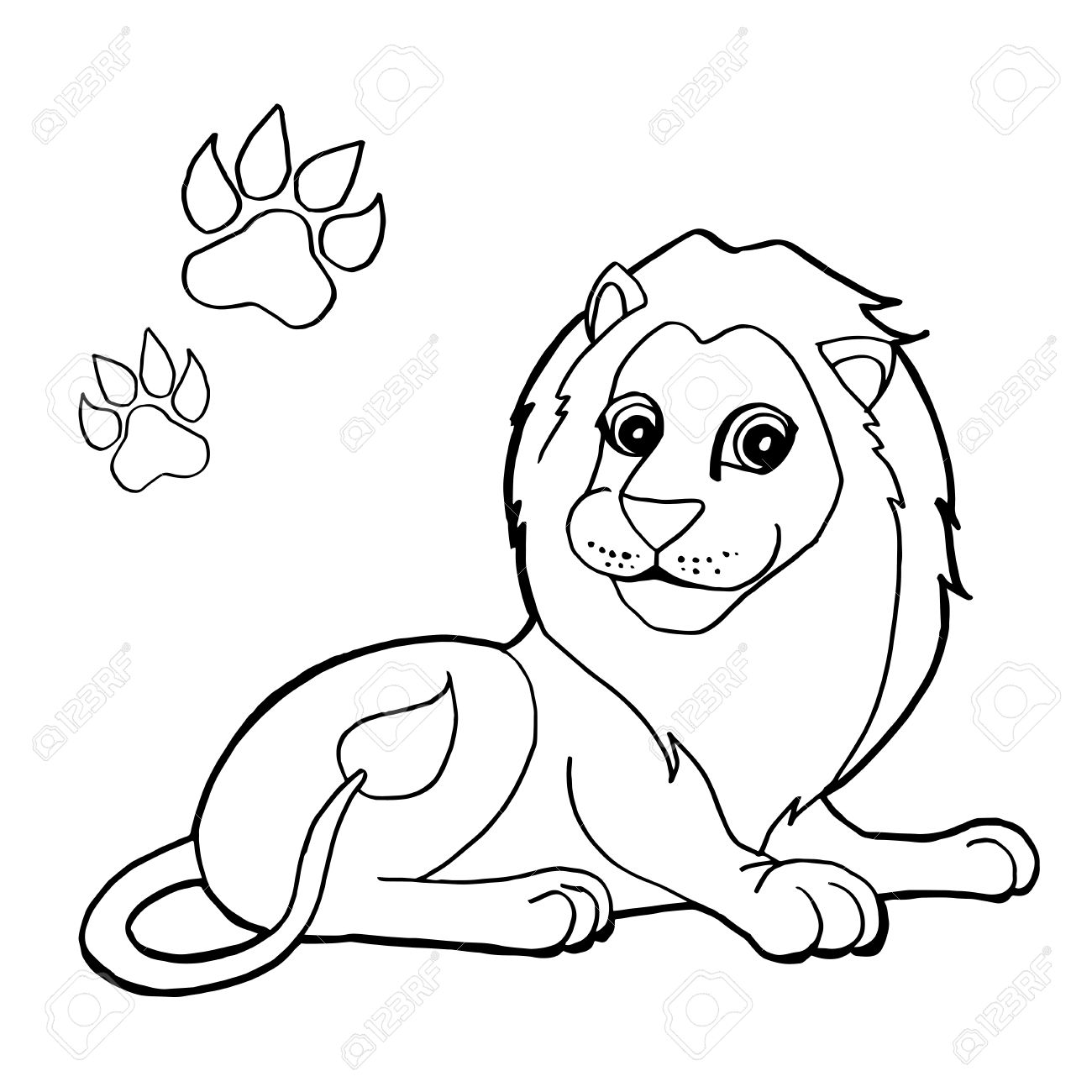 1300x1300 Paw Print With Lions Coloring Pages Royalty Free Cliparts, Vectors