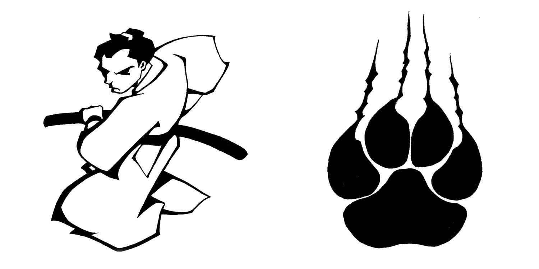 1500x750 Tattoo Flash 6 Samurai And Paw By Biggcaz