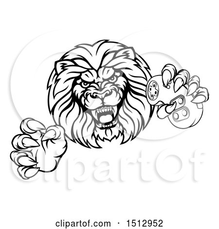 450x470 Clipart Of A Black And White Male Lion Attacking With A Video Game