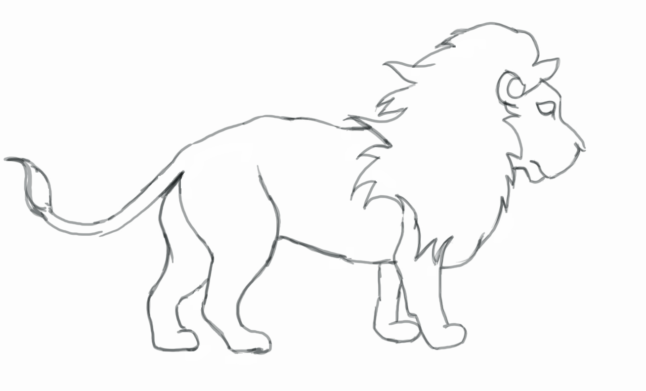 1307x791 Lion Drawing ~ 3d Drawing