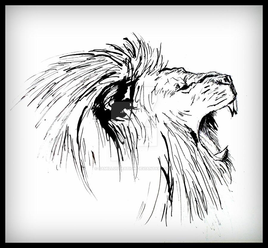900x835 Lion Roar By Samillustration