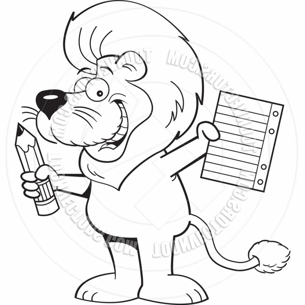 1024x1024 Pencil Art Cartoons Cartoon Lion Holding A Paper And Pencil Black