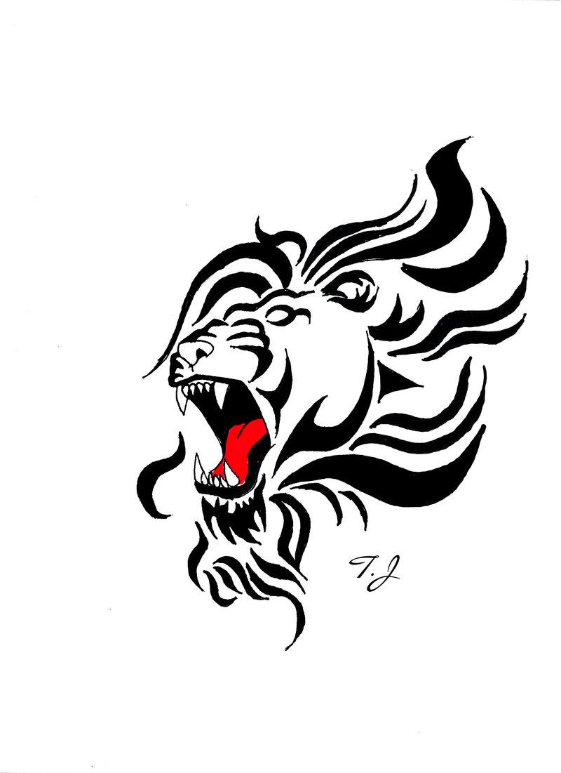 800x1101 Tattoo Roaring Lion Drawing By Silgan