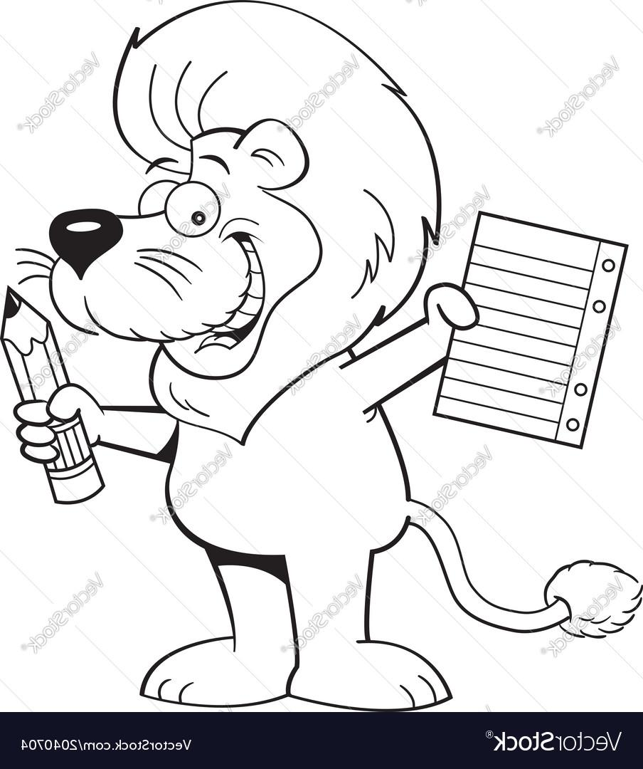 904x1080 Top Cartoon Lion Holding Paper And Pencil Vector Drawing