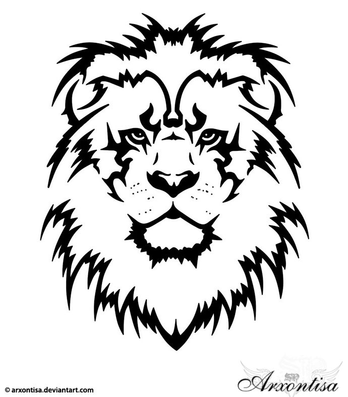 690x787 Collection Of Tribal Leo Head Tattoo Drawing