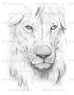 311x400 Customized Lion Portrait Black Andwhite Fabric