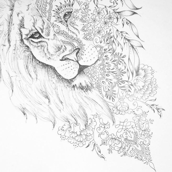 720x720 45 Best Colorful Lion Tattoo Mane Drawings Images
