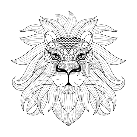 450x450 Hand Drawn Ornamental Lion For Adult Coloring Pages, Post Card