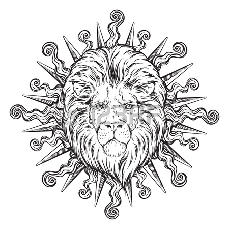 450x450 Hand Drawn Crowned Lion Head Over Grunge Paper Background Vector