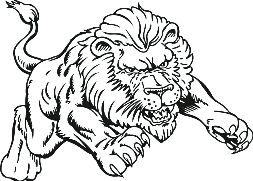 1024x734 Realistic Coloring Pages Lion Animals Printable With Of Online