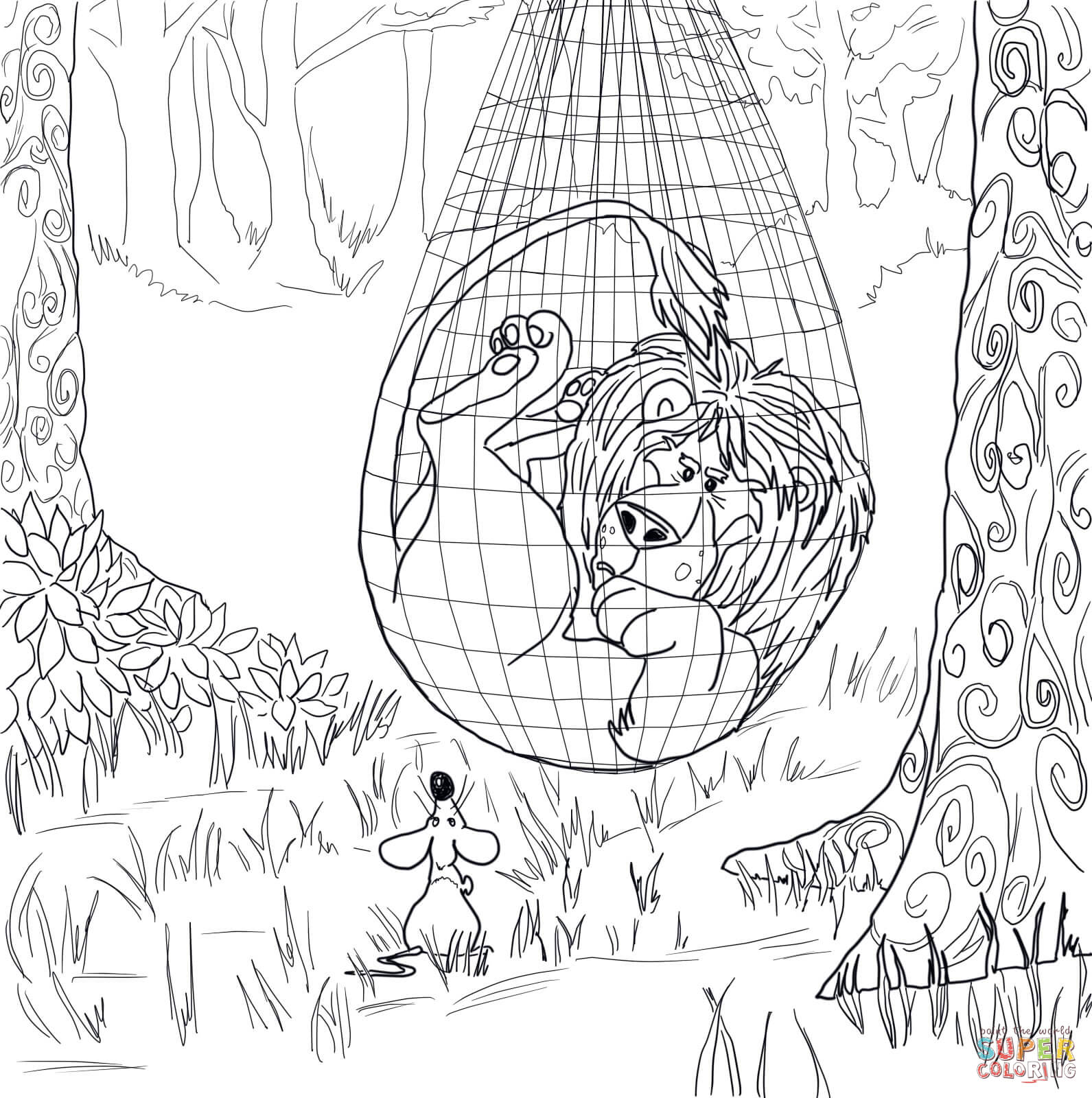 1591x1600 The Lion Trapped In The Net Coloring Page Free Printable