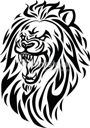 Lion Roaring Drawing