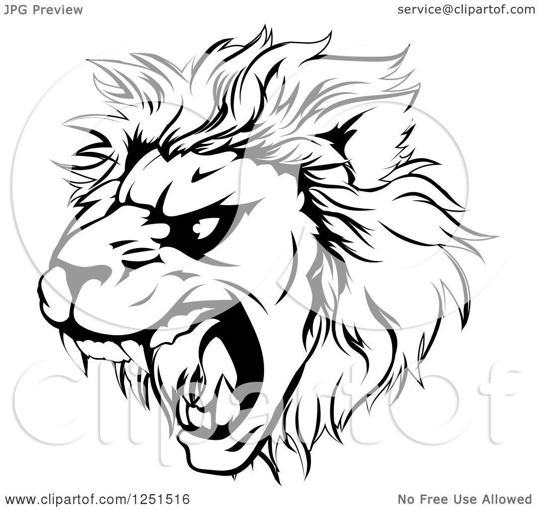 1080x1024 Clipart Of A Black And White Roaring Aggressive Lion Mascot Head