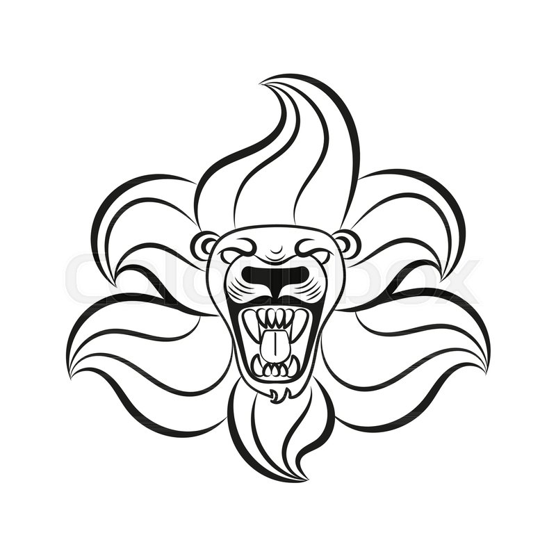 800x800 Mane Lion Roaring Sketch On White Background Stock Vector