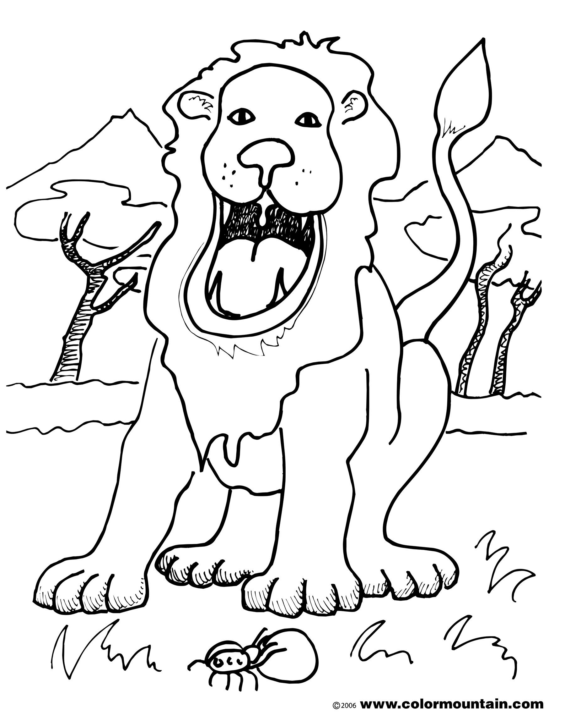 1800x2294 Roaring Lion Coloring Sheet
