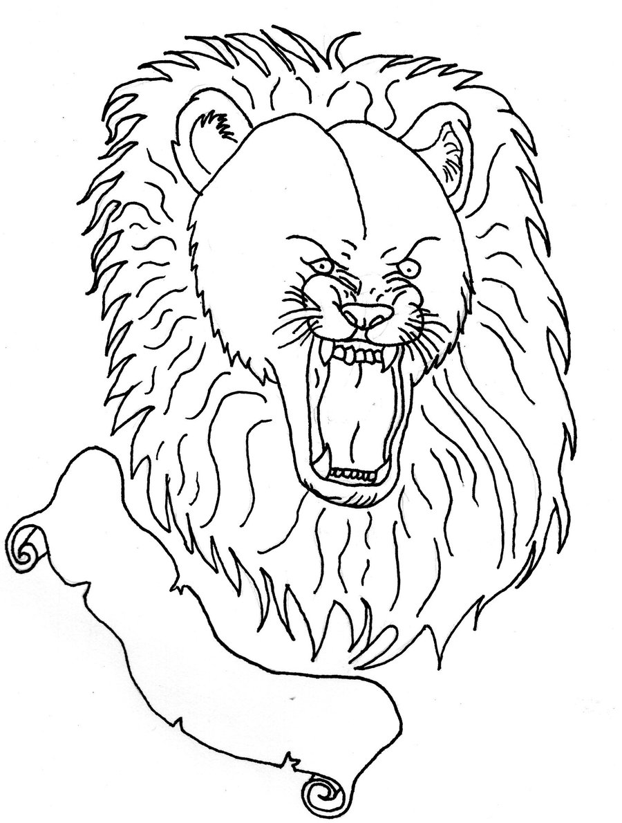 900x1190 Roaring Lion Lineart By Vampychick1