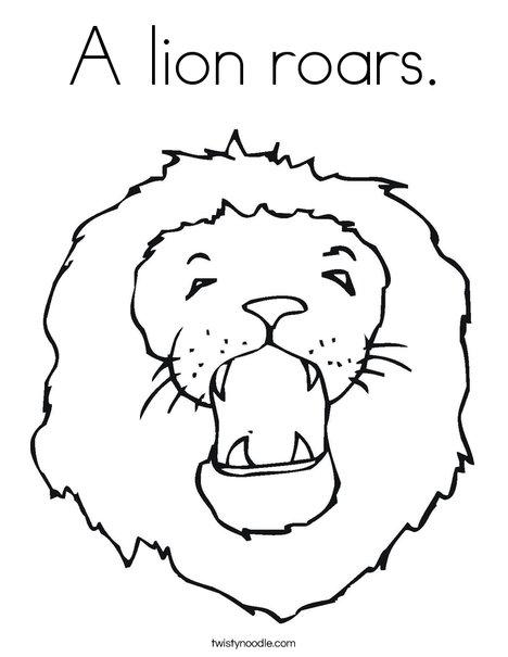 468x605 A Lion Roars Coloring Page