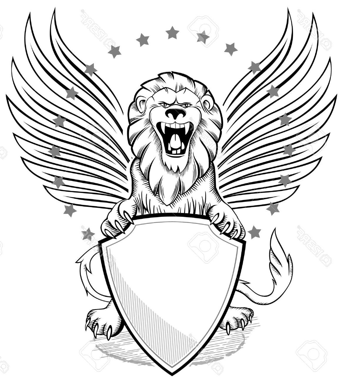1165x1300 Best 15 Roaring Winged Lion With Shield Insignia Stock Vector