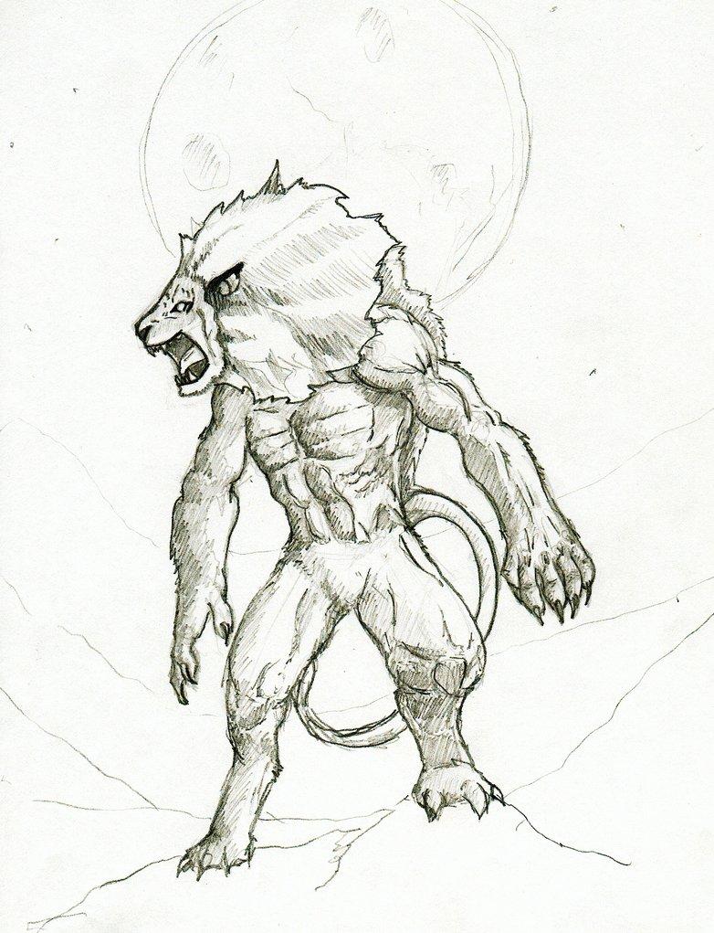 782x1021 Drawn Lion Lion Man
