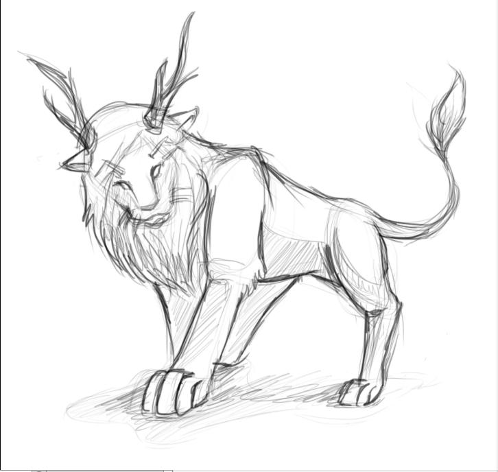 726x688 Lion Sketch